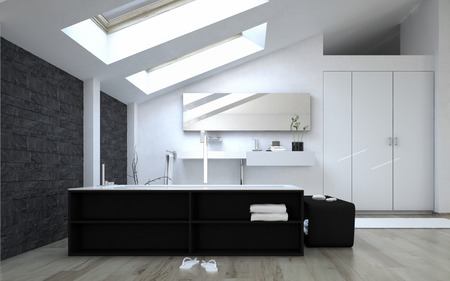 skylights: Interior of Black and White Modern Bathroom with Sunny Skylights