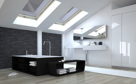 skylights: Interior of Modern Black and White Bathroom with Sunny Skylights in Ceiling