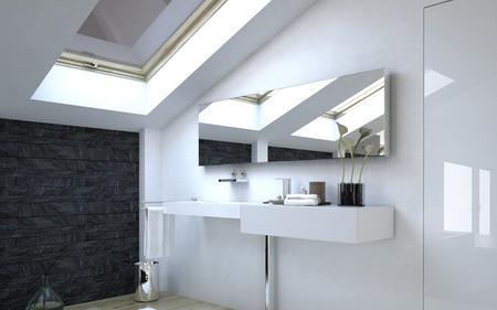 Close-up Elegant Architectural Witte wastafel en spiegel op een muur in de badkamer. Stockfoto