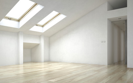 skylights: Interior of Empty Room of New Home with Wood Floors, White Walls and Bright Skylights Stock Photo