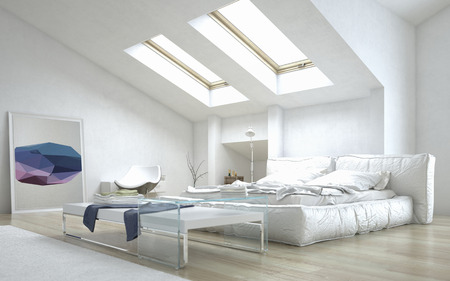 futon: Close up Architectural White Bedroom with Elegant Glass Table