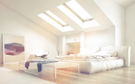Close up Architectural Bedroom with Glass Table and White Furniture Illuminated with Sunlight from Glass Ceiling. Stock Photo