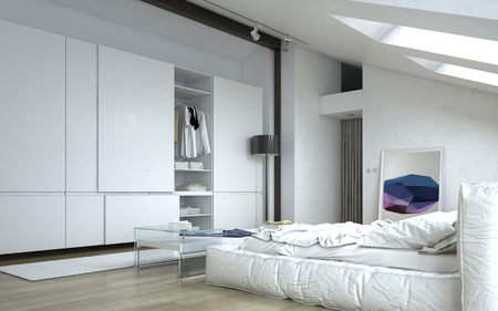 Close up Fully Furnished Architectural White Bedroom with White Furniture and Wall Cabinets.