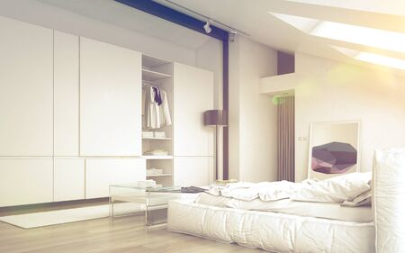 closets: Close up Illuminated Architectural White Bedroom Design with Elegant White Furniture Stock Photo