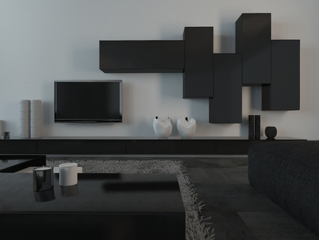 Close up Elegant Black and White Furniture and Appliances inside an Architectural Living Room. Stock Photo