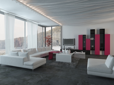 realty residence: Close up Attractive Architectural Living Room Design with White, Black and Dark Pink Furniture. Stock Photo