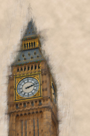emphasis: Artistic blurred,vintage paint effect view of Big Ben, London with the emphasis and clarity to the details of the dial and clock face of the clock tower, with copyspace
