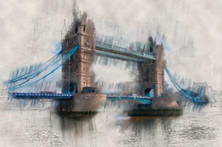 ダウン トラフィックの跳ね橋でテムズ川を渡るロンドン タワー ブリッジの功妙なペイント効果ビンテージ ビュー