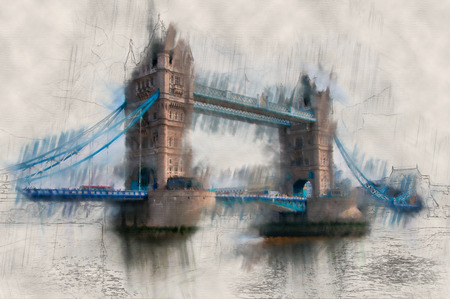 Artistic paint effect vintage view of London Tower Bridge crossing the River Thames with the drawbridge down for traffic