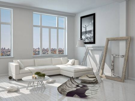 living room design: Elegant Modern Architectural White Living Room Design with White Furniture and Glass Windows.