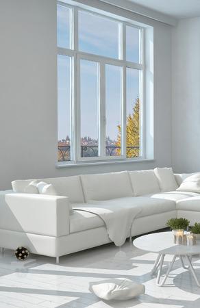 windowpanes: Close up Elegant White Long Sofa at the Living Room Near the Glass Window
