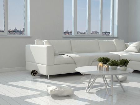 small table: Close up White Table with Small Plants and Classy Chairs at the Modern Living Room. Stock Photo