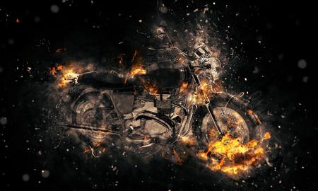 resplandor: Moto quema Fiery imagen conceptual con llamas en erupci�n desde las ruedas y el marco que representan el deporte extremo, velocidad y peligro sobre un fondo oscuro