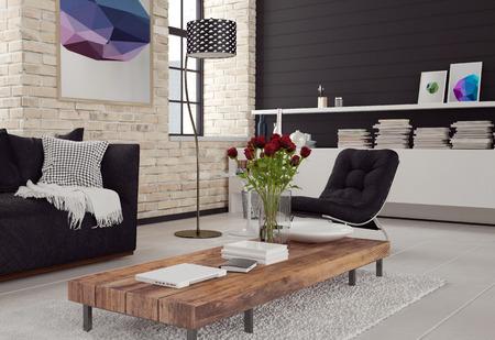 d�coration murale: 3d int�rieur moderne de salon dans un d�cor noir et blanc avec des murs de briques textur�es, un canap� et un fauteuil autour d'une table basse en bois et le meuble avec des livres Banque d'images