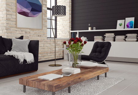 interior room: 3d Modern living room interior in black and white decor with textured brick walls, a sofa and chair around a wooden coffee table and cabinet with books