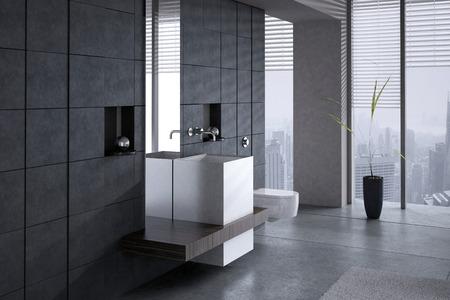 inodoro: Una representaci�n 3D de un lavabo moderno con el tocador contra la pared de piedra oscura