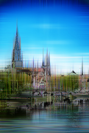 minster: Artistic image of Ulm Minster with a blurred paint effect of the Gothic cathedral and Ulm under a sunny blue sky reflected in the River Danube