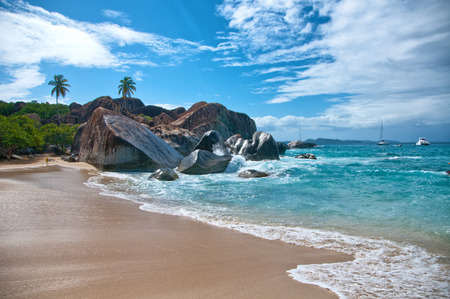 """Attractive """"the Bath"""" Beach with Turquoise Sea Water, Granite Boulders and Trees Under Blue and White Sky on a Tropical Climate. Located at the Virgin Gorda Island, Tortola in the Caribbean"""