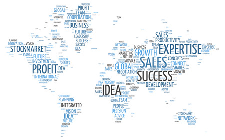 Conceptual World Map in a Simple Business Word Tag Cloud Design on a White Background.