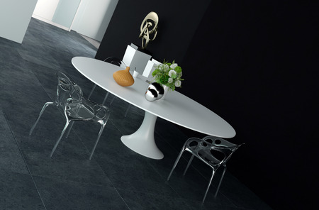 dining table and chairs: Elegant Design of Architectural Dining Area with Round White Table, decorated with Flowers and Silver Balls, and Glossy Metal Chairs.