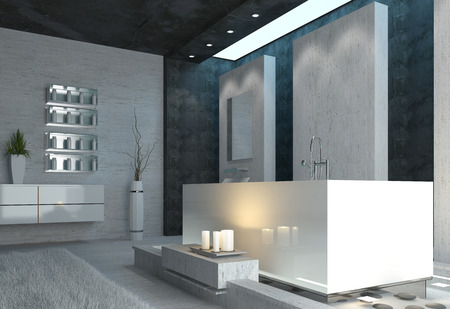 Luxury bathroom interior with burning candles and elegant grey, black and white modern decor in a romantic home setting photo