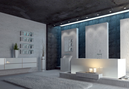 3d render of a spacious black and white modern bathroom interior with glowing candles alongside the bathtub, a black ceiling and down lights photo