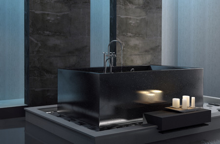 subdued: Bathing by candlelight with an interior view of a stylish bathroom with a rectangular tub and subdued lighting in a romantic setting