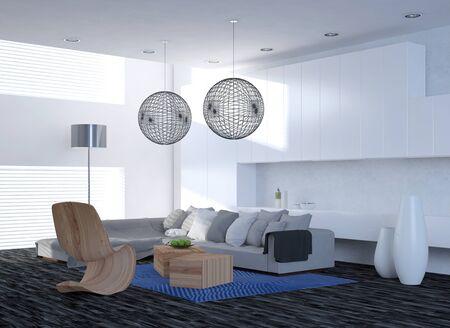abatjour: Modern living elegante sala interna con un divano unit� d'angolo e sedie contemporanee sotto paralumi traliccio sferiche, pavimento in parquet e grandi finestre