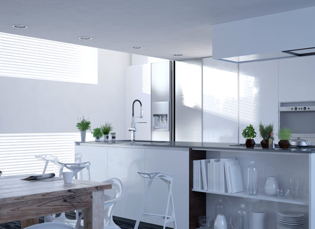 decore: Modern White Architectural Idea for Home Kitchen Decorated with Small Green Plants.