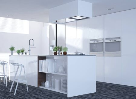 Modern clean white kitchen interior with an open-plan design and island counter with stools with large side windows letting in sunlight