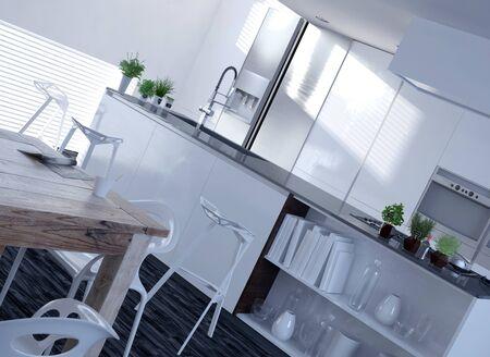 decore: Elegant White Architectural Interior Design for Home Kitchen in Diagonal Three Dimensional. Stock Photo