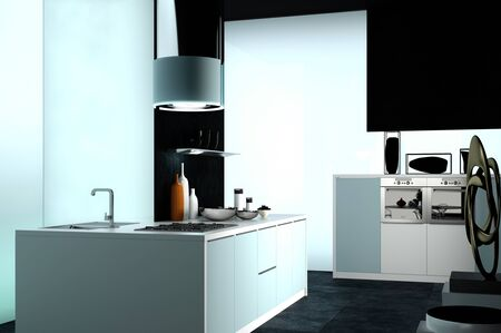 room accents: Elegant Modern Architectural Design of a Black and White House Kitchen Area Stock Photo