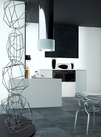 3D Design of an Elegant Home Kitchen Area with Wire Art Decoration of an Abstract Sculpture at the Side.