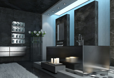Modern Elegant Architectural Gray Bathroom Design with White Candles Near the Bathtub and Fresh Flowers Near the Wall. photo