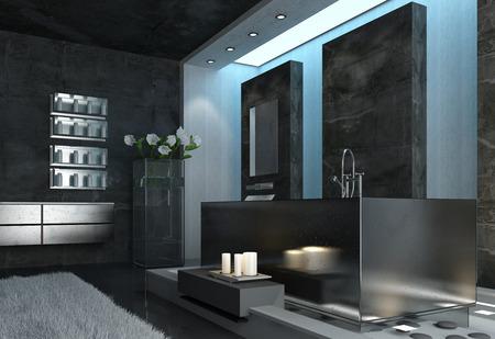 Moderne elegante Architektur Grau Badezimmer Design mit weißen Kerzen In der Nähe der Badewanne und frische Blumen in der Nähe der Wand.
