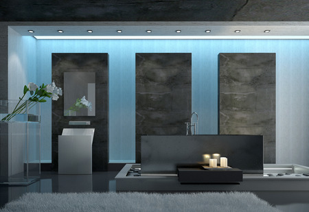 Contemporary Architectural Design of a Gray Bathroom with Gray Carpet on the Floor, Lighted Candles Near the Tub and Fresh Flower Cutting Near the Wall photo
