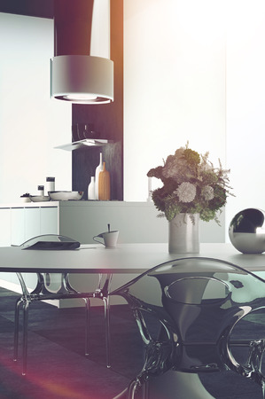 room accents: Modern Architectural Design of an Elegant Dining Table at the Home Kitchen with Flowers on a Vase.