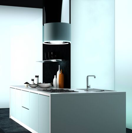 home accents: Modern Architectural Design of an Elegant Home Cooking Area with Exhaust System.