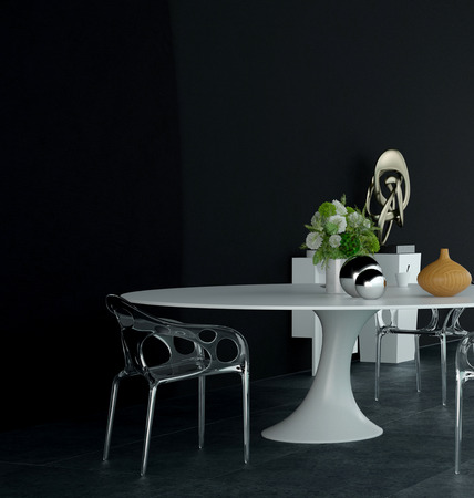 home accents: Modern Architectural 3D Design of an Elegant Table and Chairs with Decors on a Black Wall Background.