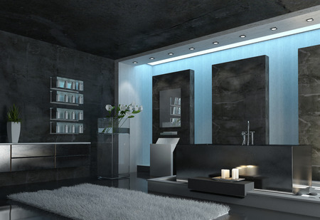 bathroom interior: Architectural Interior Design of a Modern Spacious Gray Bathroom with Gray Carpet, Candles and Flowers.