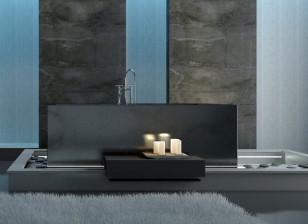 Rectangular Gray Bathtub with Lighted White Candles in Front in a Modern Architectural Home Bathroom. photo