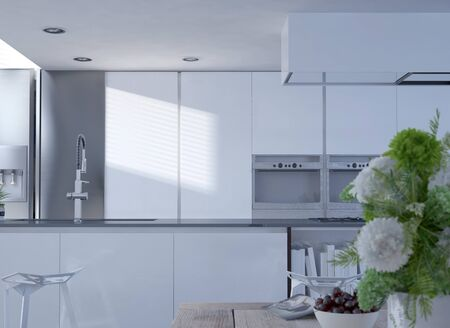 decore: Interior of Clean White Modern Kitchen with Stainless Faucet and Vase of Flowers in Foreground