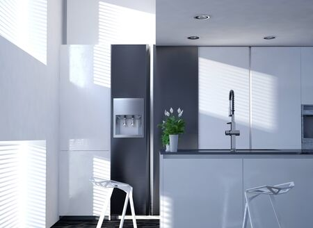 decore: Clean White Modern Kitchen with Vase of Flowers on Counter and Sun Shining Through Blind Covered Windows Stock Photo