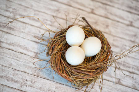 roost: Close up Hen Roost with Three White Whole Eggs on Top of a White Wooden Table