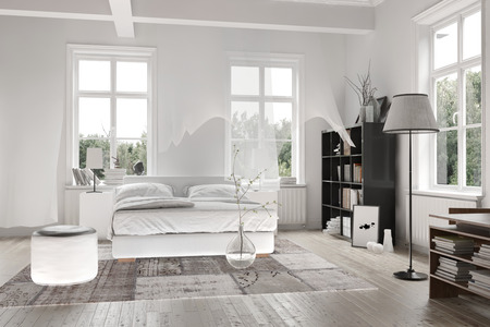 Bright light white spacious monochromatic bedroom interior with ceiling beams and a double bed with rug on a wooden floor surrounded by cottage pane windows