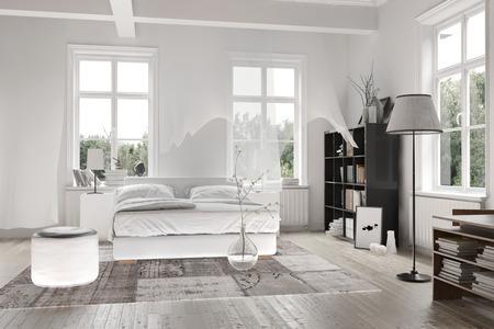 Intérieur Lumineux Lumière Blanche Monochromatique Spacieuse Chambre ...