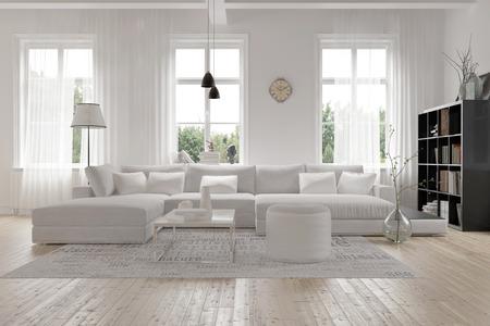 Moderne gro�z�gige Lounge oder Wohnzimmer Innenraum mit einfarbigen wei�en M�beln und Dekor unter drei gro�e helle Fenster mit einem dunklen B�cherregal Akzent in der Ecke