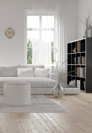 Hoek van een comfortabele witte moderne woonkamer met een gestoffeerde bank en poef op een houten vloer en boekenkast vol boeken naast een groot raam