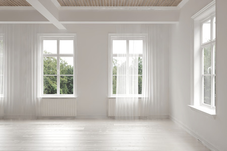room decorations: Empty stark white monochrome spacious interior of a loft room surrounded by windows letting in bright daylight with structural ceiling beams