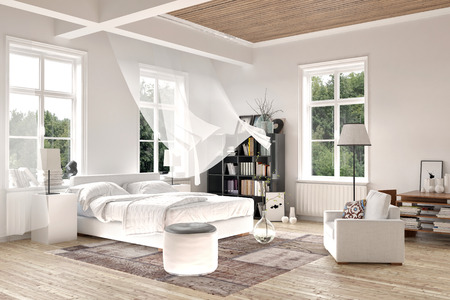 Bright white luxury rendered bedroom interior with blowing curtains on tall windows above a comfortable double bed with seating and a bookcase on a painted white wood floor